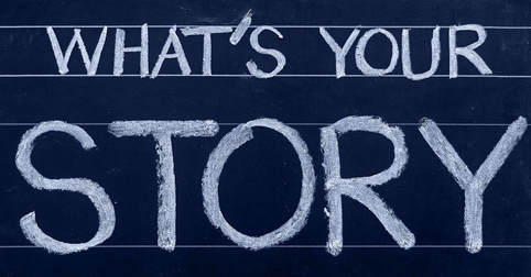 A blackboard that has the words, 'whats your story' written in big block capitals.